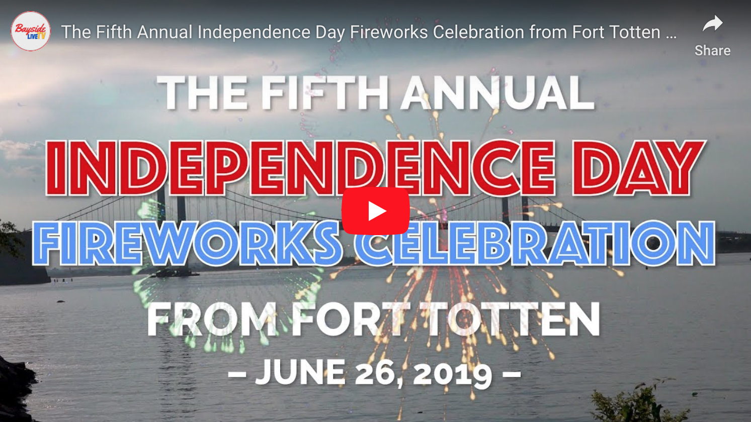 The Fifth Annual Independence Day Fireworks Celebration from Fort Totten Park – June 26, 2019